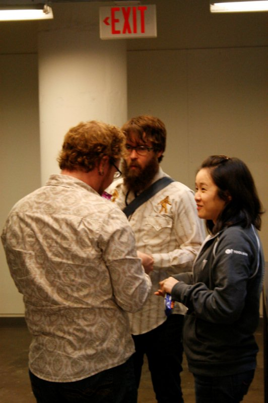 Photo of Cindy Li with Aaron Gustafson and Mark Trammell.
