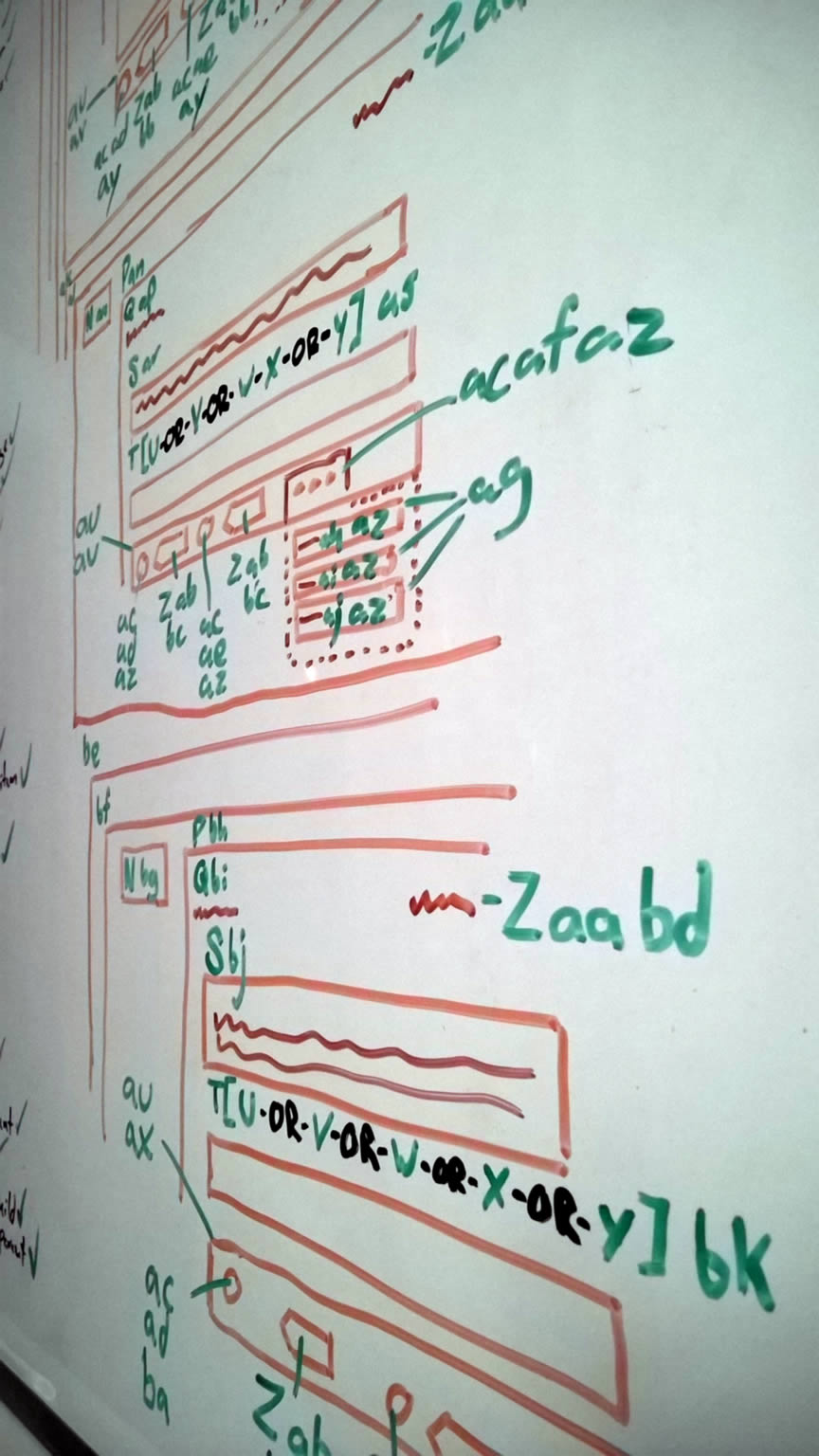 Whiteboard wireframe of the newsfeed view